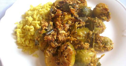 Brussels Sprouts Poryial (South Indian Brussels Sprouts with Coconut)