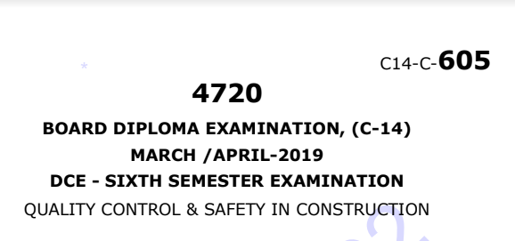 Diploma Quality Control & Safety in Construction Previous Question Paper c14 Civil