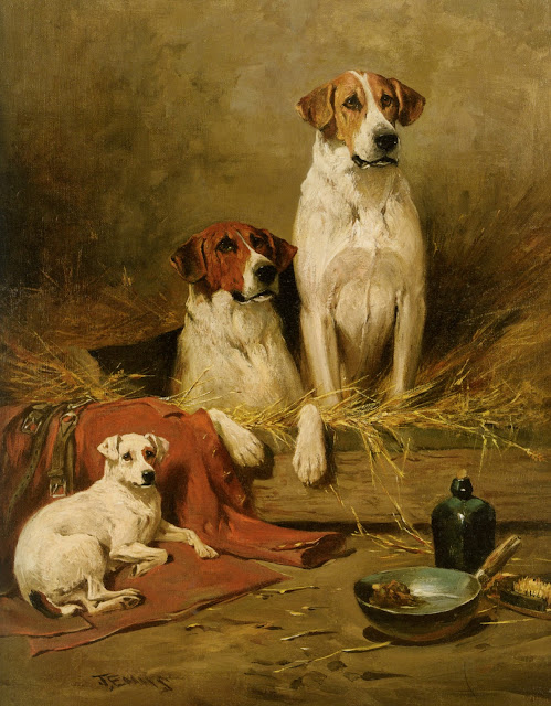 John Emms, dogs in the barn
