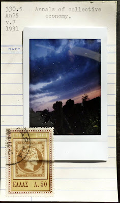 polaroid postage stamp Fluxus collage library card