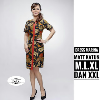 BAJU BATIK WANITA MODEL DRESS JUMBO FIT TO XXL DRESS MARINA