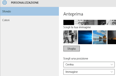 Cambiare sfondo desktop Windows 10