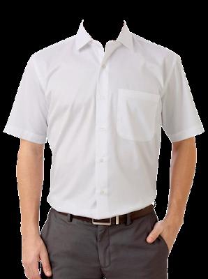 Contoh Template Kemeja Putih Pria Tanpa Dasi PNG Medium Shot (Setengah Badan) 1