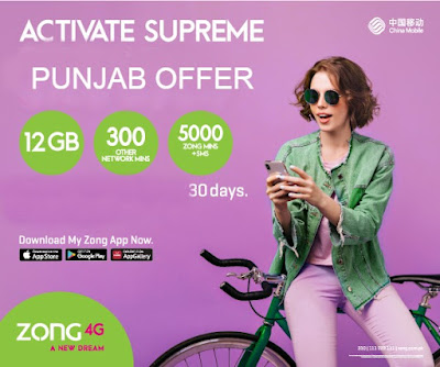 Zong Monthly Supreme Punjab offer Subscription & Unsub Code