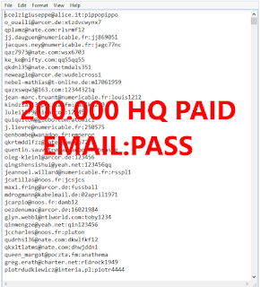 200.000 HQ PAID EMAIL:PASS COMBOS GOOD FOR FOR STREAMING / MUSICS / VPN'S ETC.