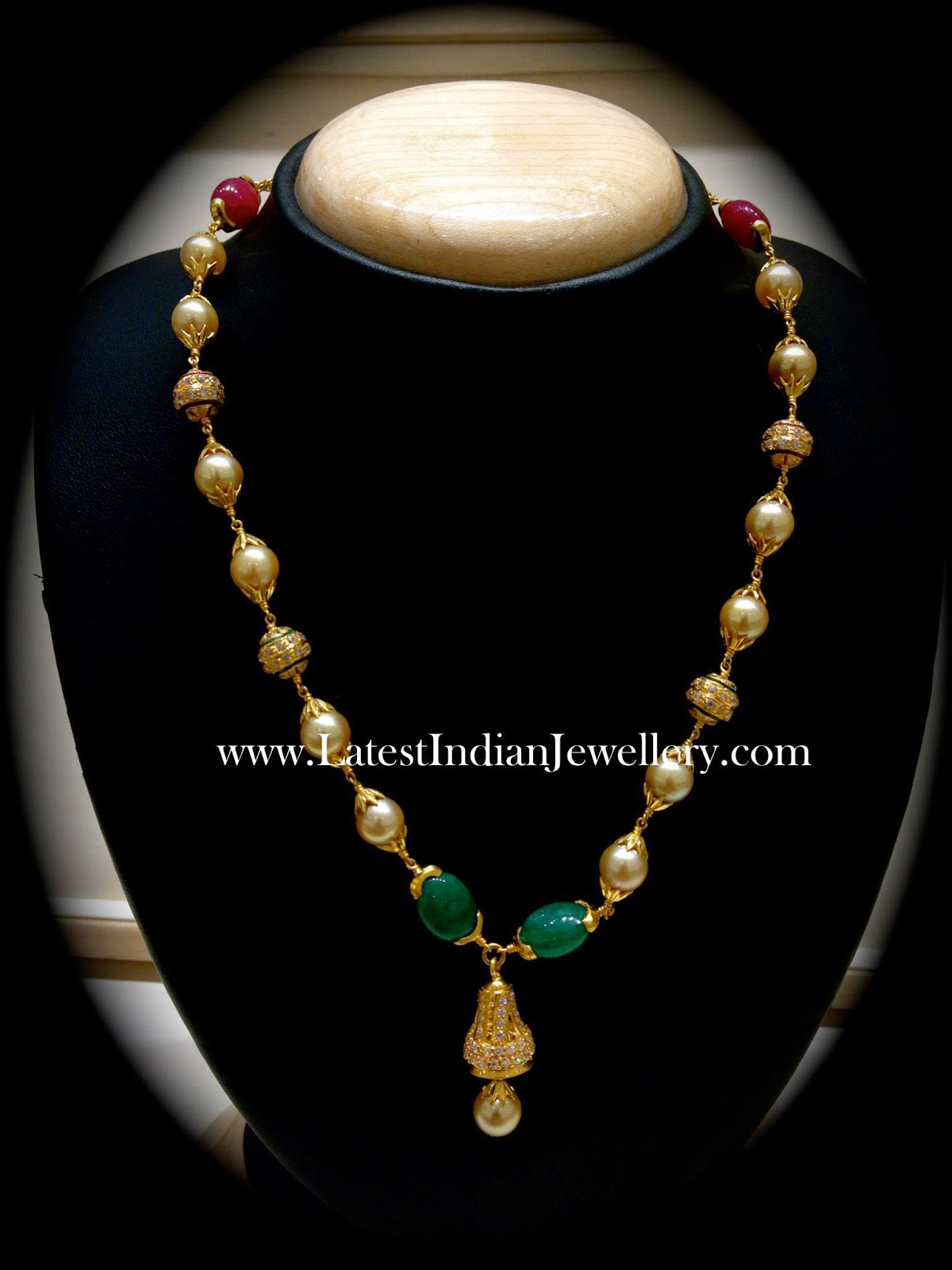 South Sea Pearls Beads Chain Latest Indian Jewellery Designs