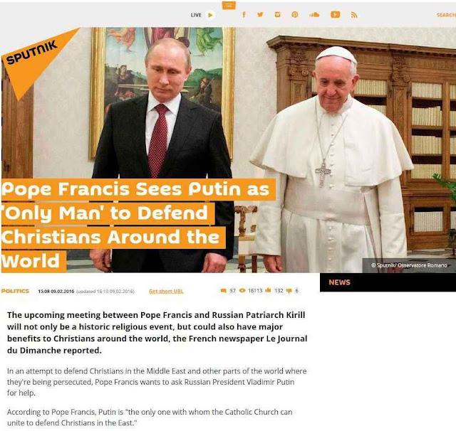 """Agência por excelência da """"guerra da informação"""" russa Sputnik apresenta ambos líderes unidos para """"defender os cristãos pelo mundo todo"""""""