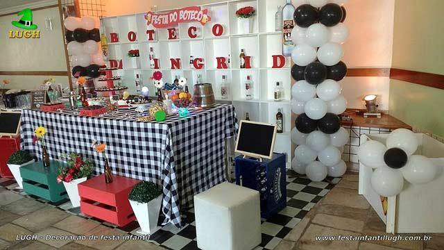Decoração de mesa tema Boteco para festa de aniversário de adultos