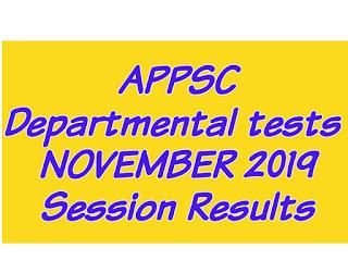 APPSC Departmental tests NOVEMBER 2019 Session Results