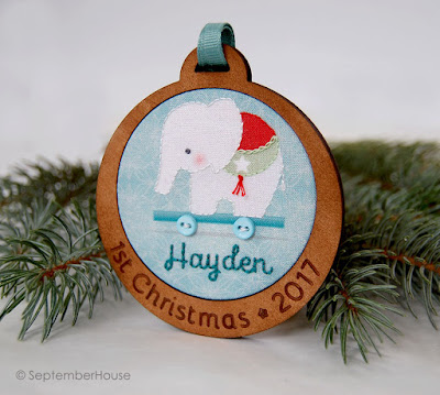 Baby's First Christmas Ornament Personalized Elephant Ornament by SeptemberHouse