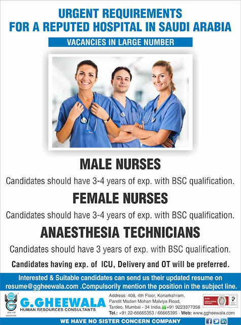 Urgent Requirement for Male & Female Nurses in Saudi Arabia