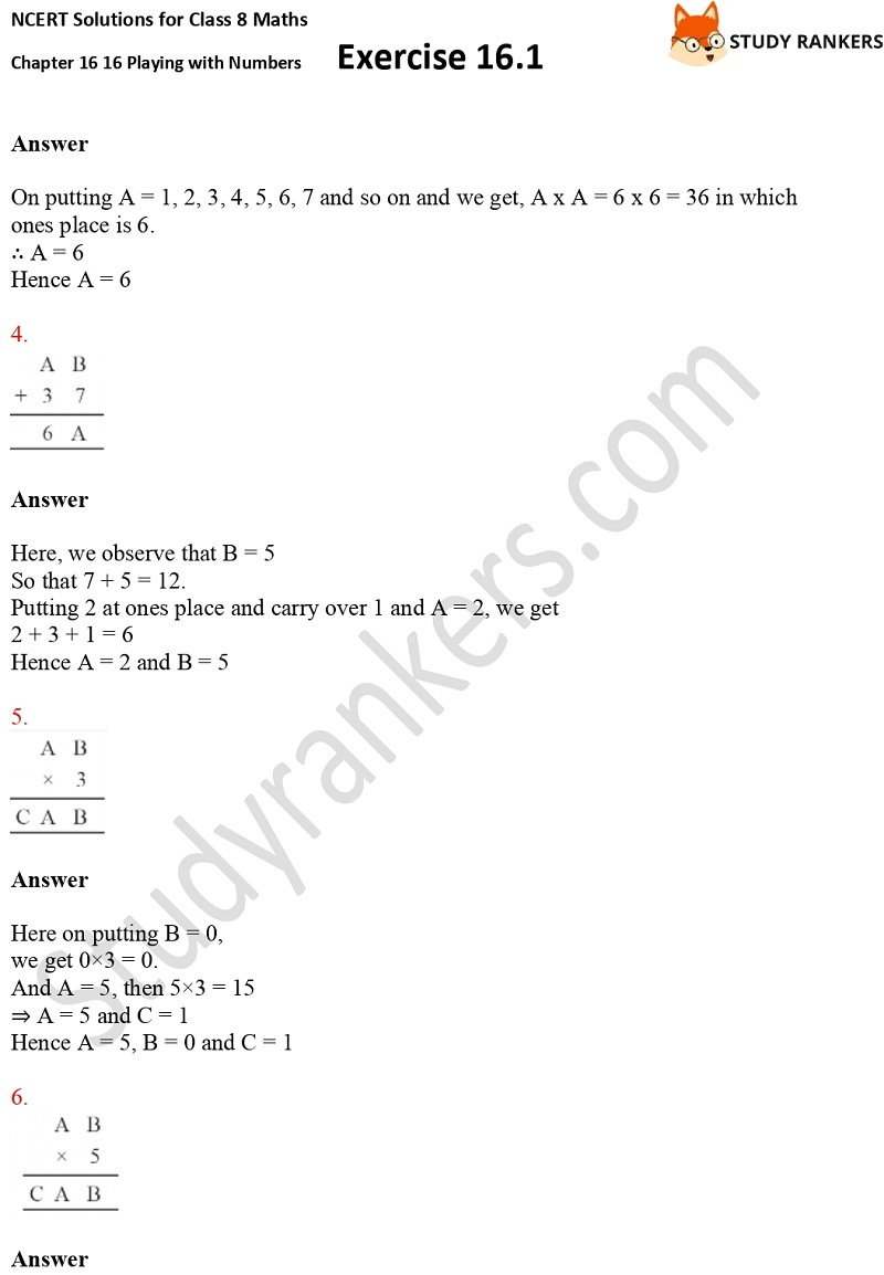 NCERT Solutions for Class 8 Maths Ch 16 Playing with Numbers Geometry Exercise 16.1 2