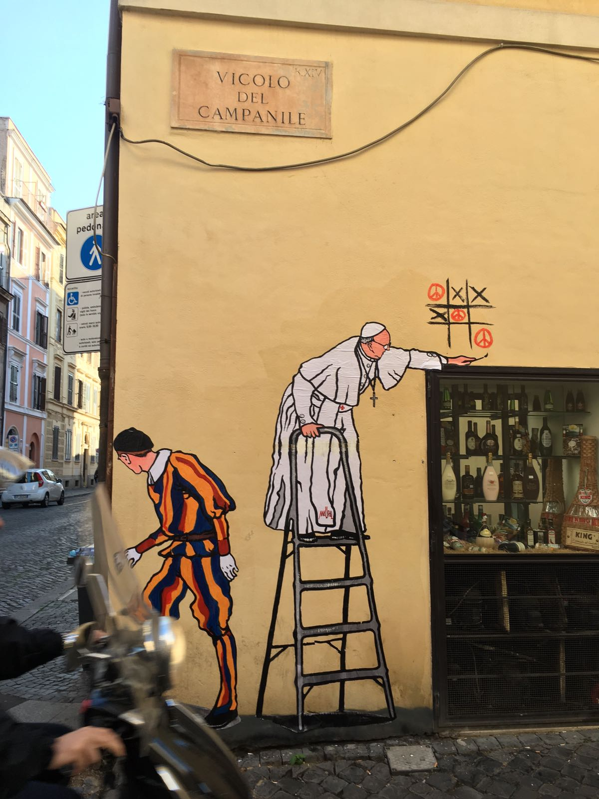I just couldnt resist this example of modern roman graffiti depicting the pope painting modern roman graffiti it was quickly removed by the authorities