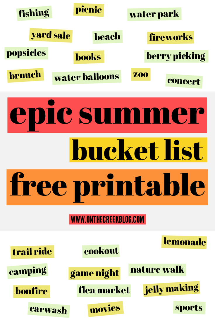Free Suummer Bucket List Printable!