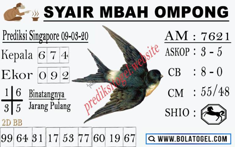Prediksi Togel Bocoran Singapura Senin 09 Maret 2020 - Syair Mbah Ompong