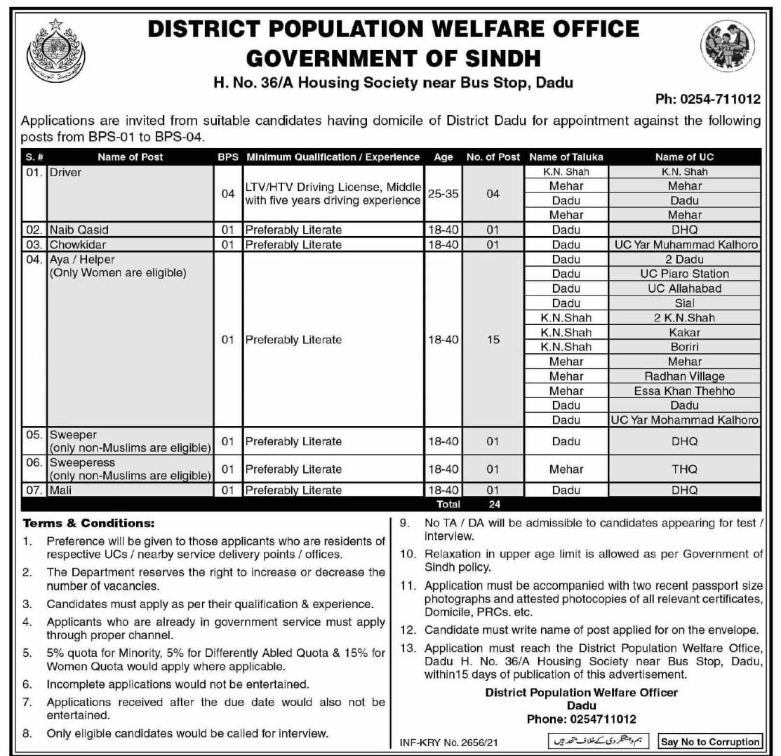 District Population Welfare Office Dadu Jobs 2021