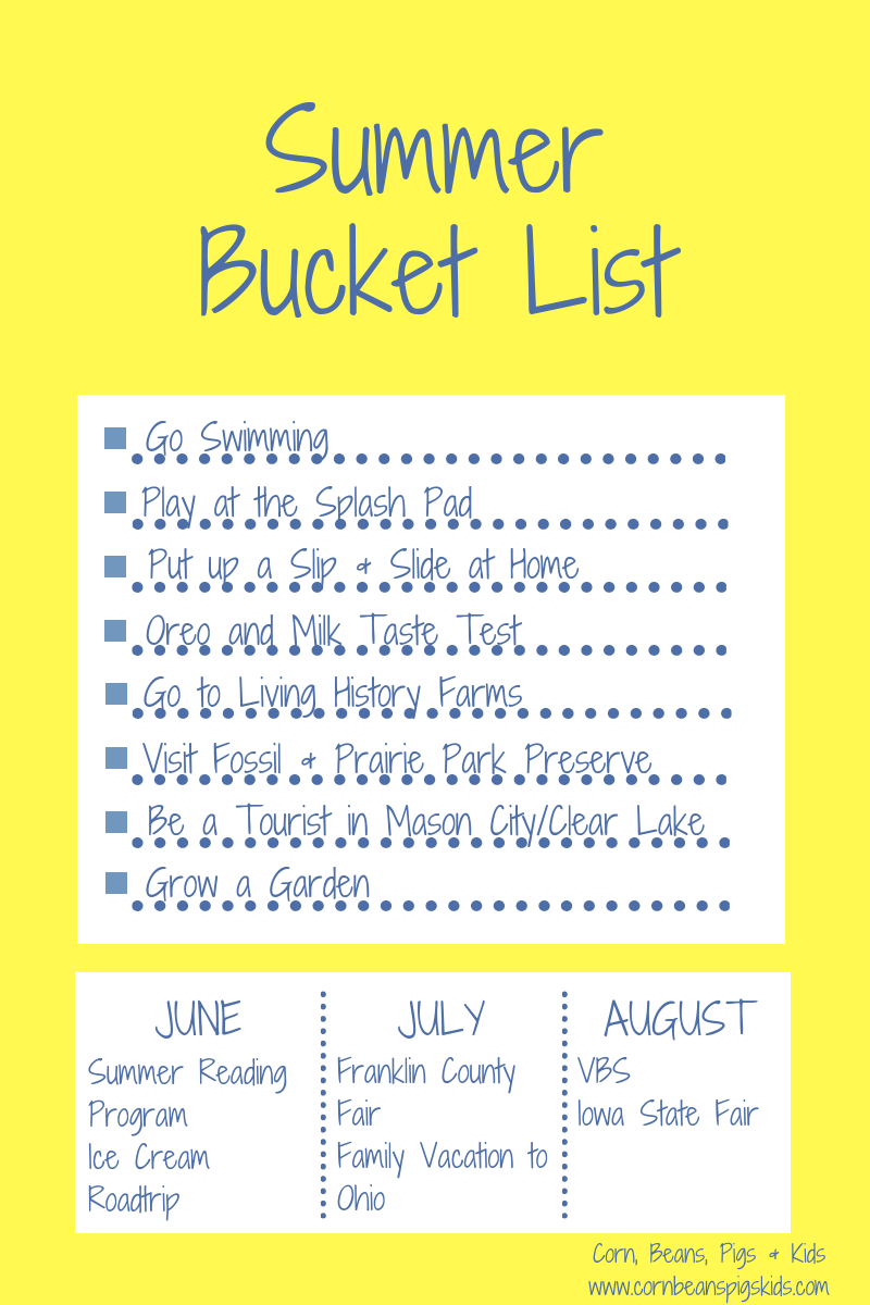 photograph about Bucket List Printable known as Corn, Beans, Pigs and Youngsters: 2019 Spouse and children Summer season Bucket Checklist +