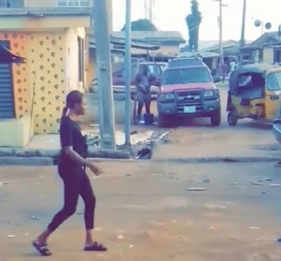 Man Disgraced For Parking His Jeep & Bathing On Lagos Street In Broad Daylight