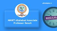 MNNIT Allahabad Associate Professor Result