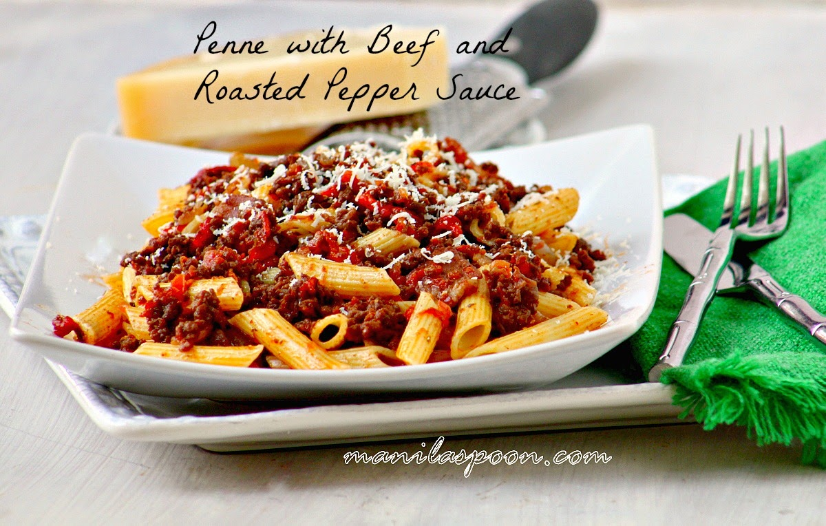 Penne with Beef and Roasted Pepper Sauce