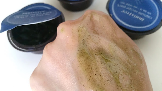 the seaweed pack spread out on the back of my hand