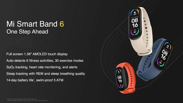 Spesifikasi Utama Xiaomi Mi Smart Band 6
