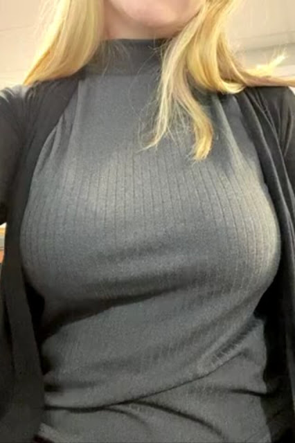 busty woman titty drop big tits reveal at work