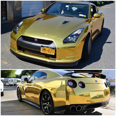 Gold Color Chrome Nissan Godzilla GTR R35