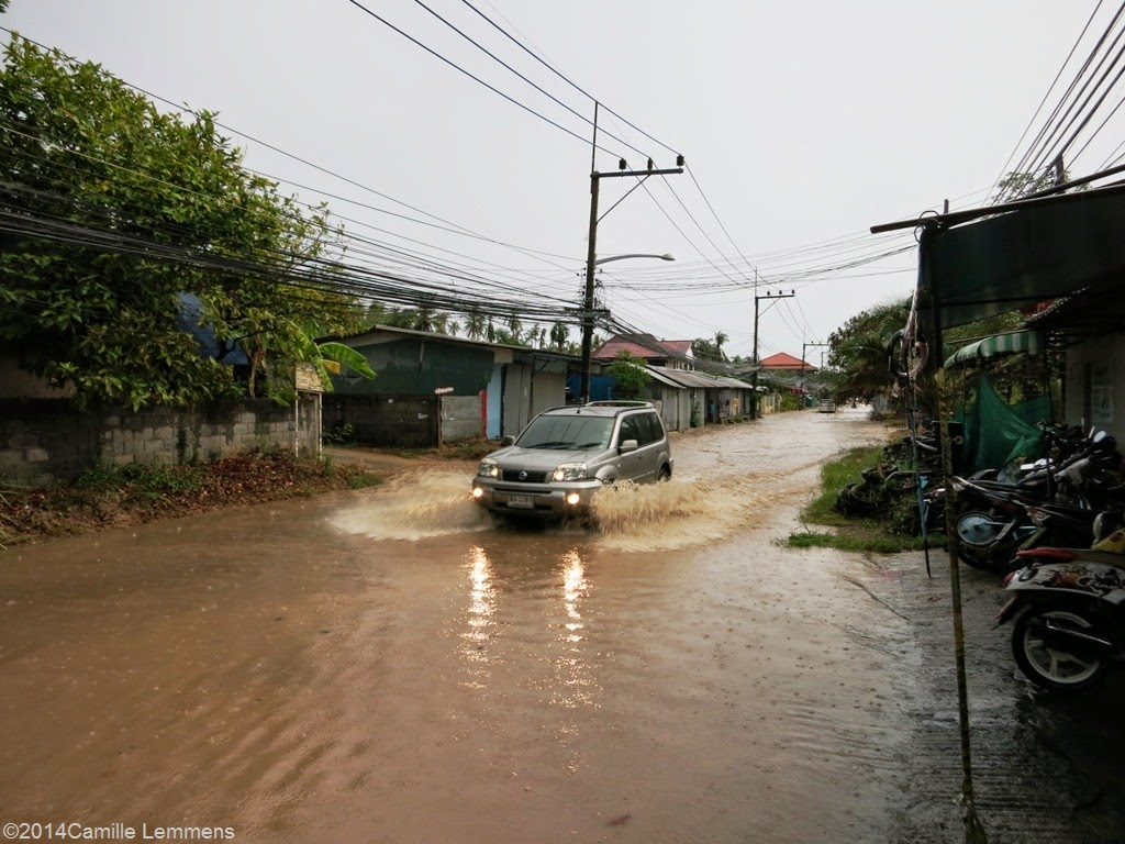 Flash flood in Plai Laem