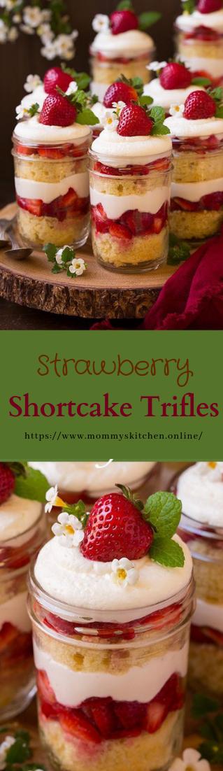Strawberry Shortcake Trifles #desserts #recipe