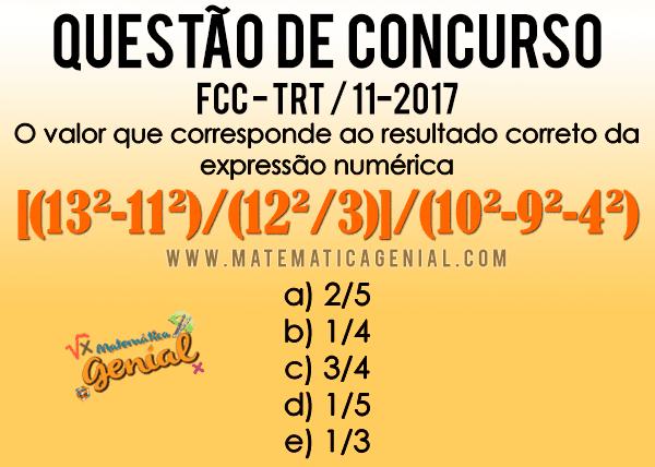 Questão de Concurso: Qual o valor correto da expressão numérica?