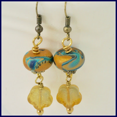 Yellow and teal floral earrings