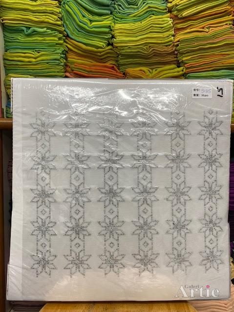 Sticker hotfix rhinestone DMC 6 jalur aplikasi tudung, bawal & fabrik pakaian motif islamik geometrik bunga silver