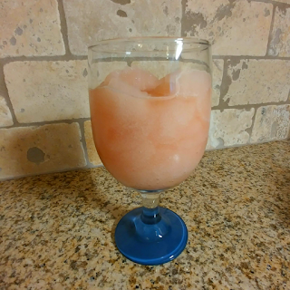 picture of frosé in a glass on a counter