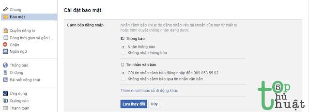 Bật cảnh báo đăng nhập Facebook