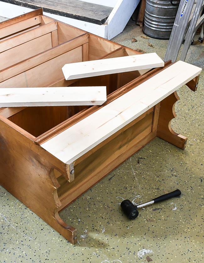 Cut boards for new dresser base