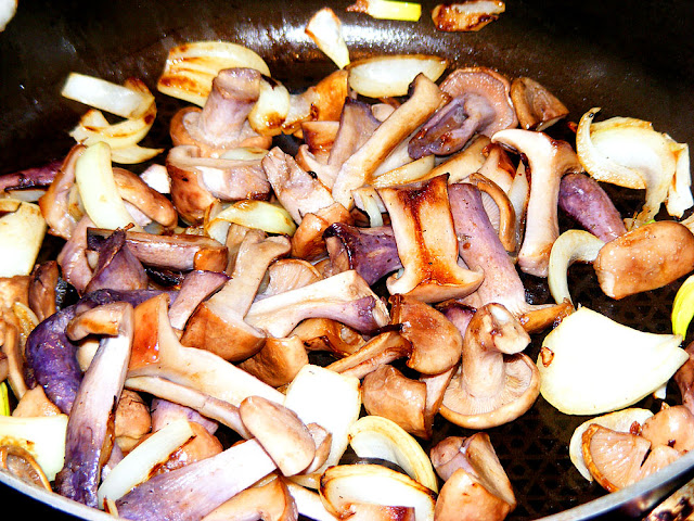 Cave grown Wood Blewit Lepista nuda, cooked with onions.  Indre et Loire, France. Photographed by Susan Walter. Tour the Loire Valley with a classic car and a private guide.