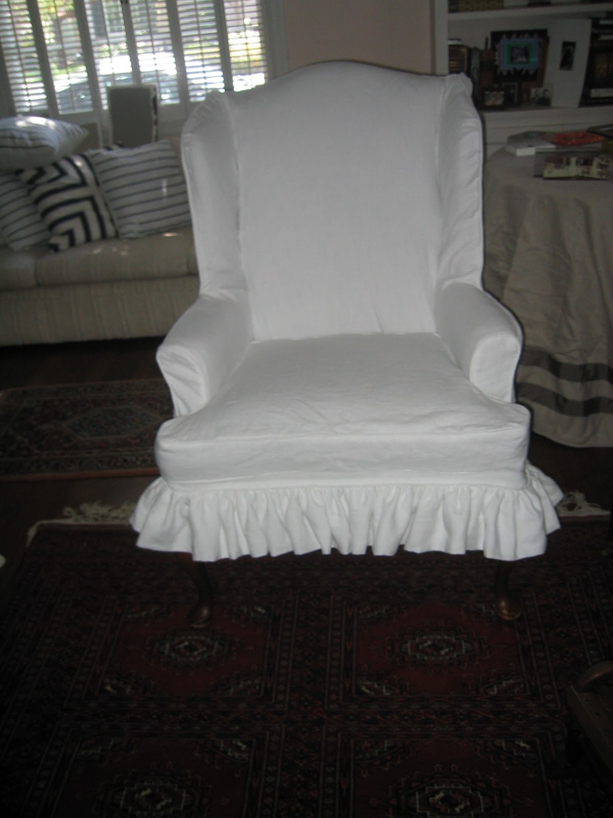 Pleasant A Little Of This That And The Other White Linen Wing Chair Uwap Interior Chair Design Uwaporg