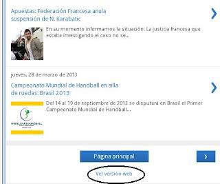 Mundo Handball, versión mobile - ir a versión web