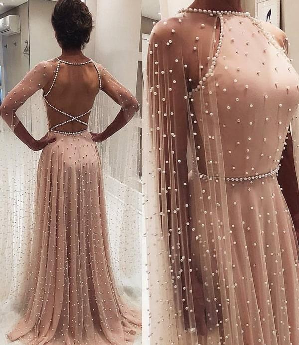 vestido de festa longo rose com micro pérolas
