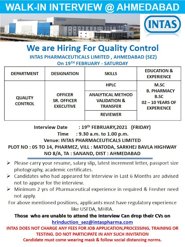 Intas Pharma | Walk-in interview at Ahmedabad for QC on 19th Feb 2021