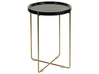 mesa baja auxiliar de forja dorada y marmol