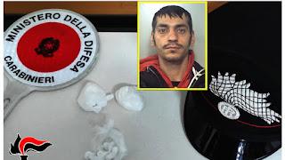 Luca Emolo aveva addosso 20 grammi di cocaina, arrestato dai Carabinieri