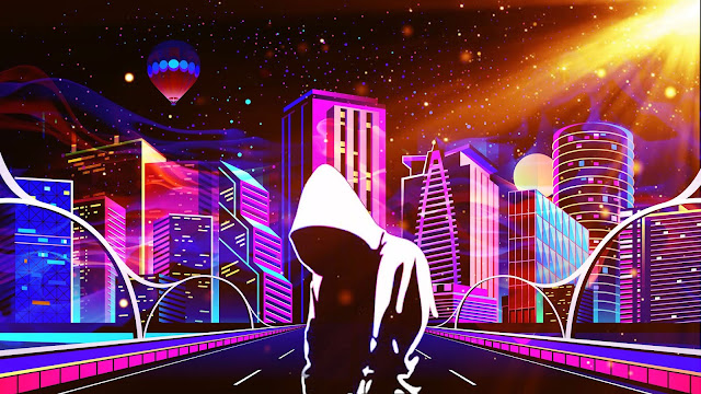 Neon City Hoodie Guy Wallpaper