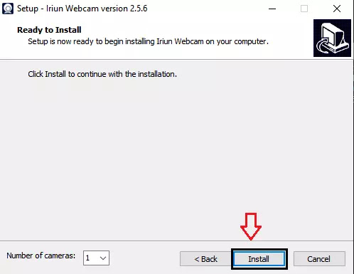ready to install tap on install Use Android phone as Webcam