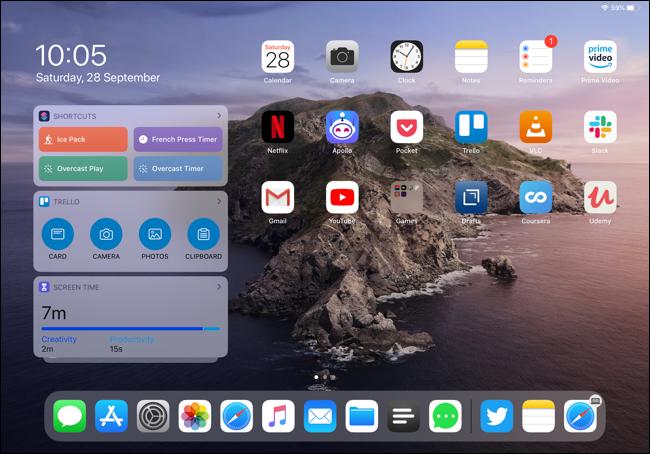 الأدوات على شاشة iPad Pro الرئيسية في عرض أفقي.