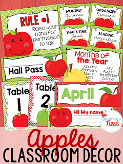 Apple Themed- Classroom Decor Collection to transform your classroom- pick a scheme or a theme to make your classroom decorated and organized
