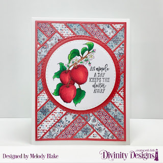 Divinity Designs Stamp Set: Apple Branch, Custom Dies: Double Stitched Circles, Quilted Background, Paper Collection: Americana Quilt, Old Glory