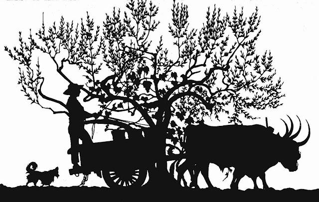 an Ugo Mochi 1922 papercut silhouette