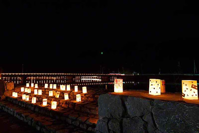 bridge, bay, candles, decorations, festival, Okinawa, nightlife